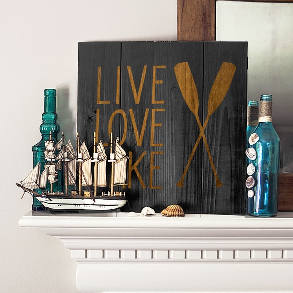 Rustic Black Lake House Wooden Wall Art