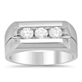 14k White Gold Men's 1ct TDW Diamond Ring (F-G, SI1-SI2)