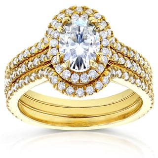 Annello 14k Yellow Gold Oval 1 3/5ct TDW Diamond Halo 3-Piece Bridal Rings Set (H-I, I1-I2)