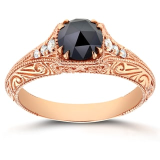 Annello 14k Rose Gold 1ct TDW Black and White Diamond Antique Filigree Engagement Ring (G-H, I1-I2)