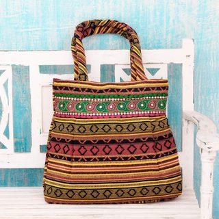 Handcrafted Cotton 'Morning Sunshine' Shoulder Bag (India)