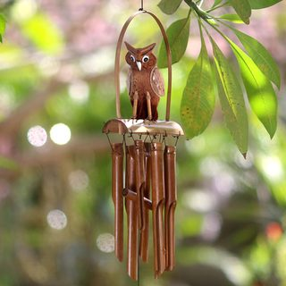 Handcrafted Bamboo 'Owl Melodies' Wind Chimes (Indonesia)