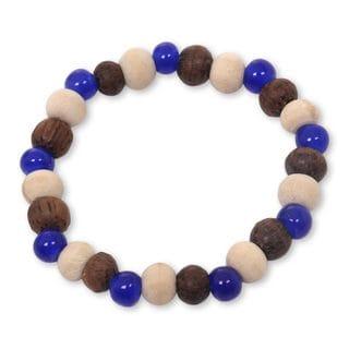 Ceramic Albesia Wood 'Blue Connection' Bracelet (Indonesia)