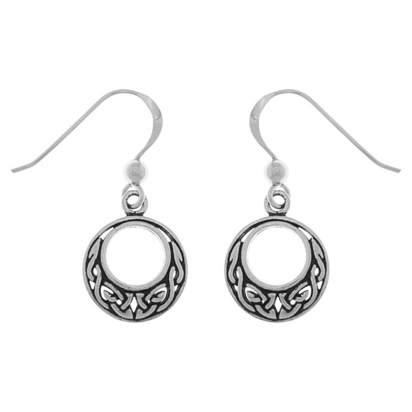 CGC Sterling Silver Small Celtic Knot Round Dangle Earrings