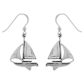 Carolina Glamour Collection Sterling Silver Nautical Sailboat Dangle Earrings