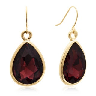 Adoriana 18 Carat Pear Shape Marsala Crystal Earrings, Gold Overlay