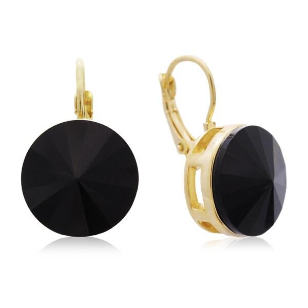 Adoriana 30 Carat Black Onyx Crystal Earrings, Gold Overlay