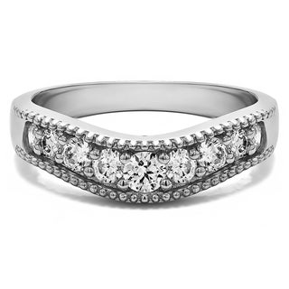 Sterling Silver Vintage Style Contour Wedding Ring mounted with Cubic Zirconia (0.5 Cts. twt)