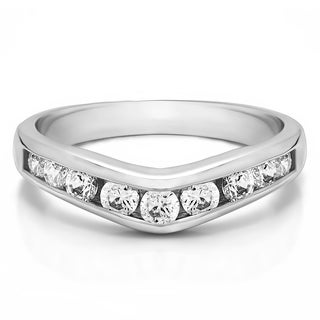 Sterling Silver Chevron Inspired Classic Contour Wedding Band mounted with Cubic Zirconia (1 Cts. twt)