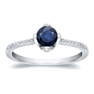 Auriya 14k Gold 3/4ct Blue Sapphire and 1/10ct TDW Round Cut Diamond Ring (H-I, SI1-SI2)
