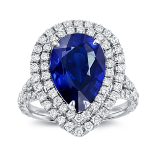 Auriya 18k White Gold 3ct Blue Sapphire and 1ct TDW Diamond Halo Ring (D-E, SI1-SI2)