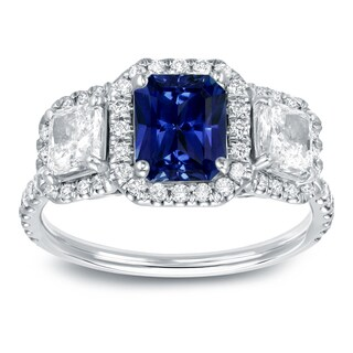 Auriya 14k White Gold 1ct Blue Sapphire and 1 1/4ct TDW Halo Diamond Ring (SI1-SI2)