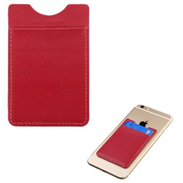 Insten Universal Genuine Real 100% Leather 3M Adhesive Card Pouch for 2 Cards 3.7 x 2.5-inch