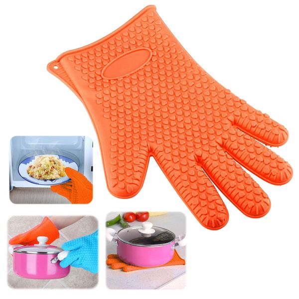 Insten Kitchen Heat Resistant Silicone Cooking Glove Oven Pot Pan BBQ Grilling Food Mitts