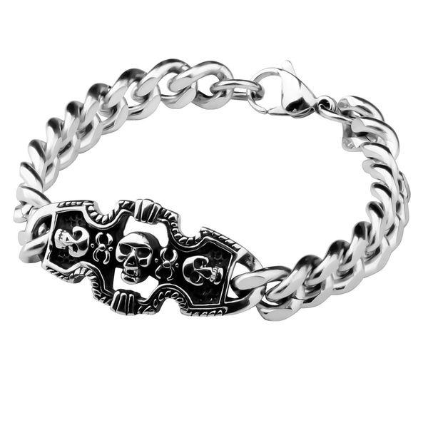 Zodaca 8.7-inch Fashion Skull Metal Clain Bracelet/ Bangle Charm Jewelry Birthday Gift