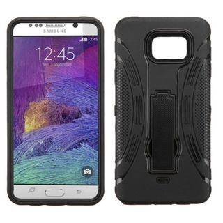 Insten Wave Symbiosis Soft Silicone/ PC Dual Layer Hybrid Rubber Phone Case Cover with Stand For Samsung Galaxy Note 5
