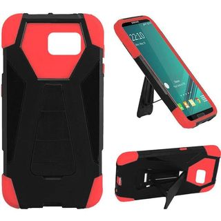 Insten Black/ Red Hard PC/ Silicone Dual Layer Hybrid Phone Case Cover with Stand For Samsung Galaxy Note 5