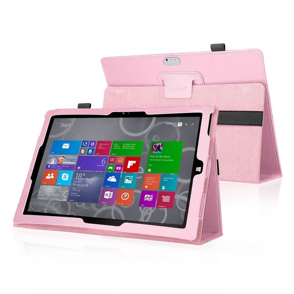 Insten Pink Leather Phone Case Cover with Stand For Microsoft Surface 3