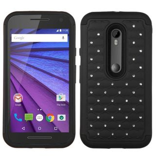 Insten Hard PC/ Silicone Dual Layer Hybrid Rubberized Matte Phone Case Cover with Diamond For Motorola Moto G 3rd Gen