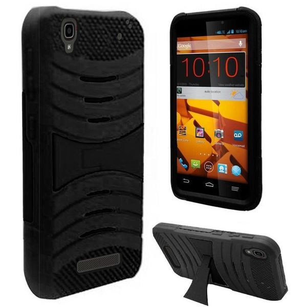 Insten Black Soft Silicone/ PC Dual Layer Hybrid Rubber Phone Case Cover with Stand For ZTE Max/ Max+