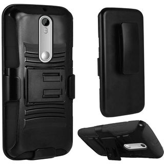 Insten Hard PC/ Silicone Dual Layer Hybrid Phone Case Cover with Holster For Motorola Moto G 3rd Gen