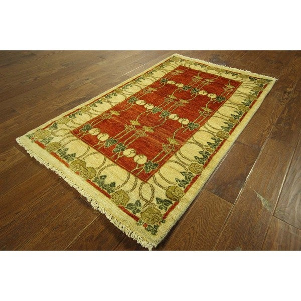 One of a Kind Floral Carnelian Red Gabbeh Hand-knotted Wool Area Rug (3' x 5')