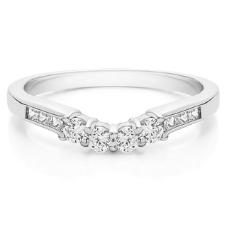 Sterling Silver Fancy Style Matching Wedding Band mounted with Cubic Zirconia (0.42 Cts. twt)