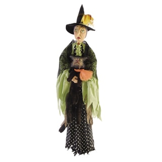 """Matilda"" Standing Witch With Cat Figure"