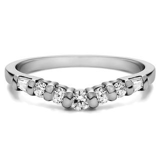 Sterling Silver Timeless Contour Wedding Ring mounted with Cubic Zirconia (0.42 Cts. twt)