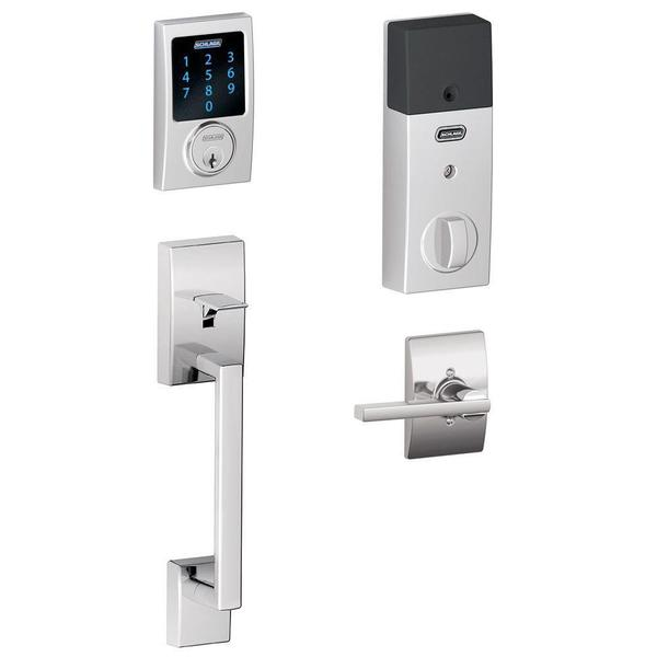Schlage Connect Century Bright Chrome Touchscreen Deadbolt with Alarm and Handle set with Latitude Interior Lever