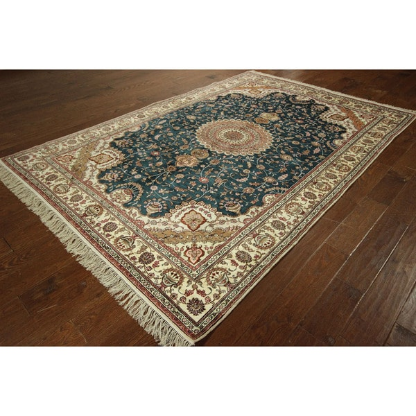 Persian Hand Knotted Kashan Silk And Wool Area Rug Ebth: Persian Pure Silk Kashan Teal Blue Hand-knotted Oriental