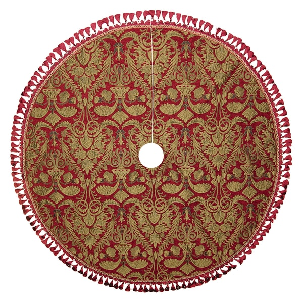 "Gold & Burgundy 60"" Plume Chenille Tree Skirt"