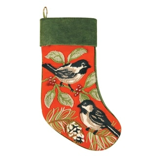 Chickadee Velvet Stocking