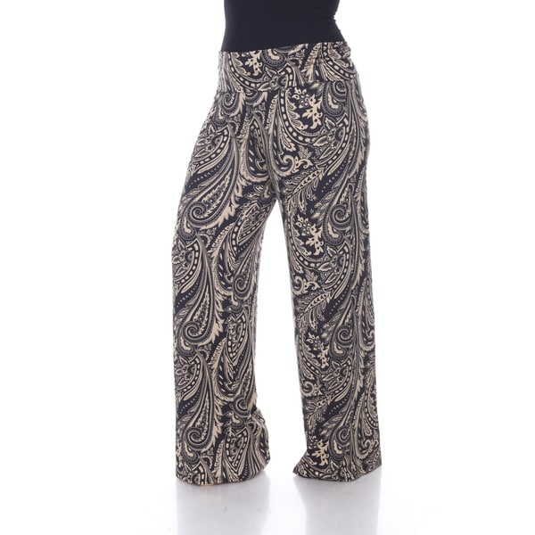 White Mark Plus Size Paisley Print Palazzo Pants