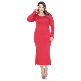White Mark Plus Size Long Sleeve Maxi Dress, Red, Purple