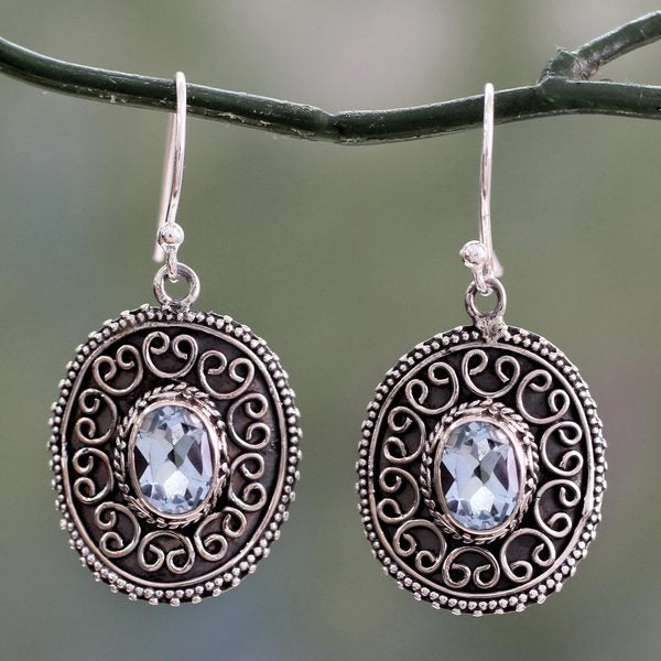 Handcrafted Sterling Silver 'Ornate Shield' Topaz Earrings (India)