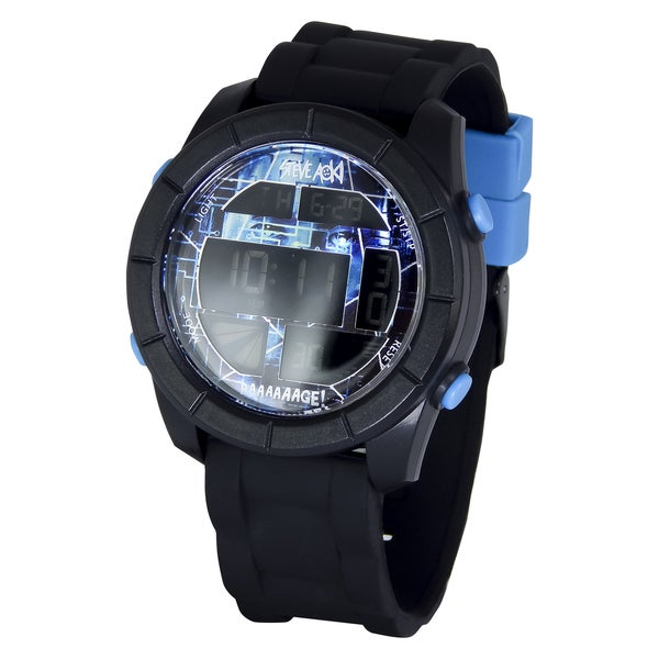 Steve Aoki Round Face Blue Digital Watch