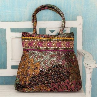 Handcrafted Embellished 'Celebration of Nature' Shoulder Bag (India)