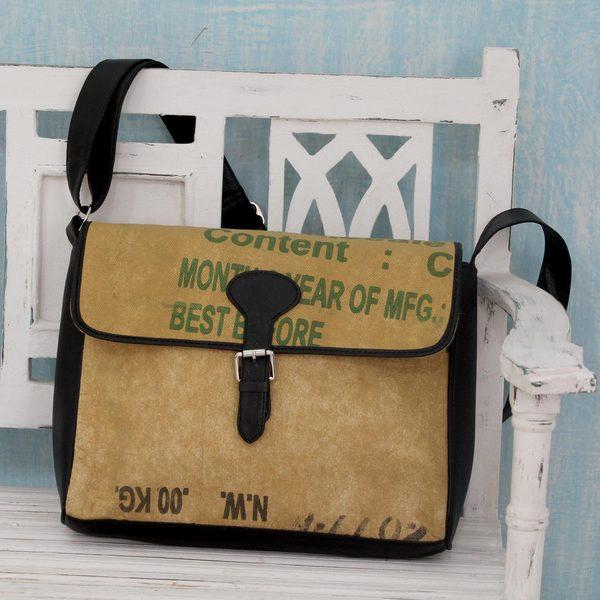 Handcrafted Upcycled Tea Sack 'High Tea Chic' Shoulder Bag (India)