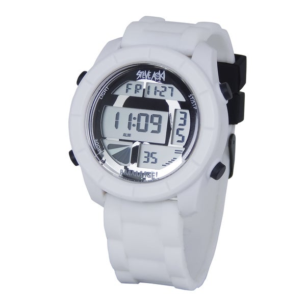 Steve Aoki Round Face White Digital Watch
