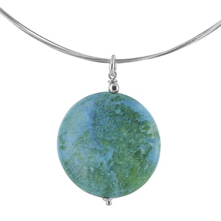 Ashanti Blue Green Jasper Gemstone Sterling Silver Pendant with a Stainless Steel Handcrafted Necklace