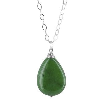 Ashanti Polished Green Jade Pear Shaped Gemstone Sterling Silver Handcrafted Necklace
