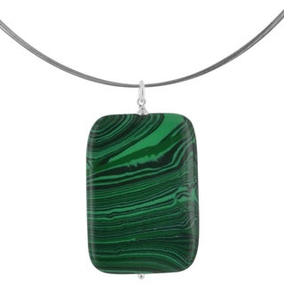 Ashanti Malachite Rectangular 40 Carat Gemstone Sterling Silver Handcrafted Necklace