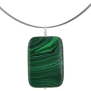 Ashanti Malachite Rectangular 40 Carat Gemstone Sterling Silver Handcrafted Necklace