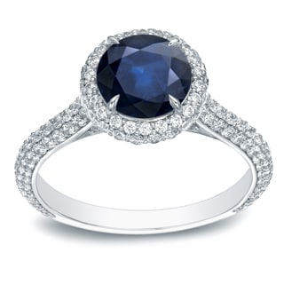 Auriya 14k Gold 3/4ct Blue Sapphire and 1 1/4ct TDW Diamond Halo Ring (H-I, SI1-SI2)