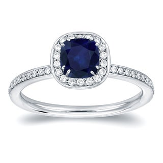 Auriya 14k Gold 3/4ct TDW Blue Sapphire and 1/3ct TDW Diamond Halo Ring (H-I, SI1-SI2)