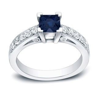 Auriya 14k Gold 1/2ct Blue Sapphire and 1/2ct TDW Diamond Ring (H-I, SI1-SI2)