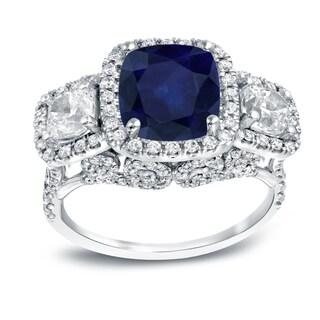 Auriya 18k White Gold 3ct Blue Sapphire and 2ct TDW Halo Diamond Ring (H-I, VS1-VS2)