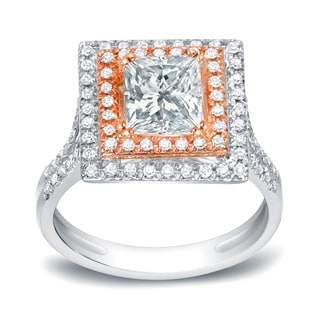 Auriya 14k Two-Tone Gold 2ct TDW Certified Princess-Cut Diamond Ring (H-I, SI1-SI2)