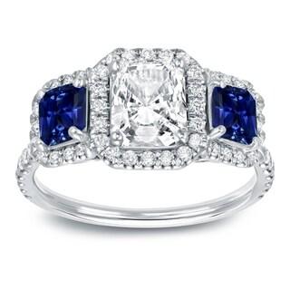 Auriya 14k White Gold 3/4ct Blue Sapphire and 1 1/2ct TDW Radiant-Cut Diamond Ring (J-K,SI1-SI2)